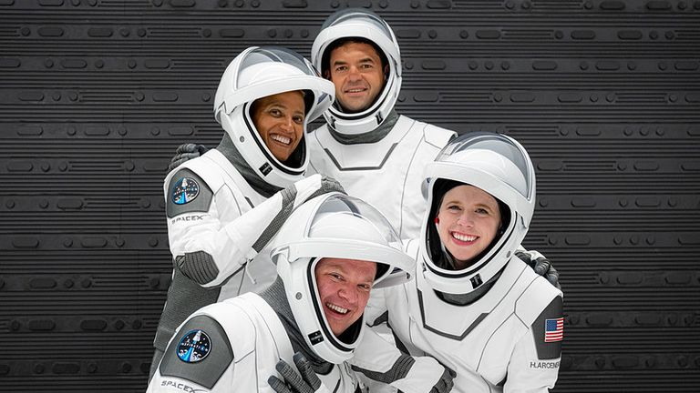 The four civilians who will be heading into space. Pic: Photo credit: Inspiration4 / John Kraus