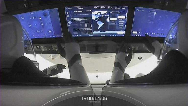 The touchscreen control panels in the capsule allow the crew to monitor telemetry