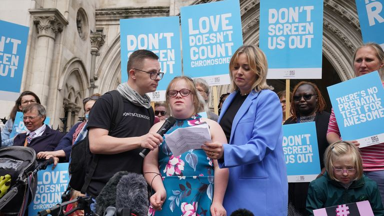 Heidi Crowter speaking to the media at the High Court in London where she lost a High Court challenge against the Government over legislation which allows the abortion of babies with the condition up until birth. Picture date: Thursday September 23, 2021.