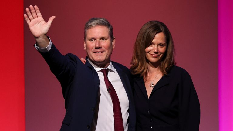 Britain's Labour Party leader Keir Starmer poses with his wife Victoria Starmer at Britain's Labour Party annual conference in Brighton, Britain, September 29, 2021. REUTERS/Hannah Mckay
