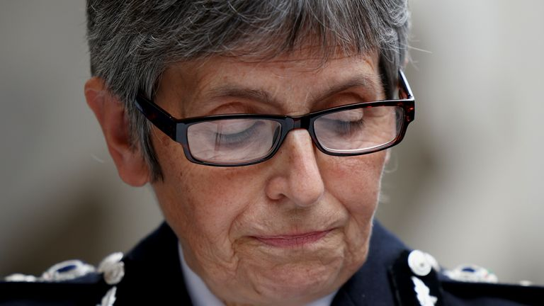 Metropolitan Police Commissioner Cressida Dick delivers a statement outside the Old Bailey, where police officer Wayne Couzens was sentenced following the murder of Sarah Everard, in London, Britain, September 30, 2021. REUTERS/Henry Nicholls