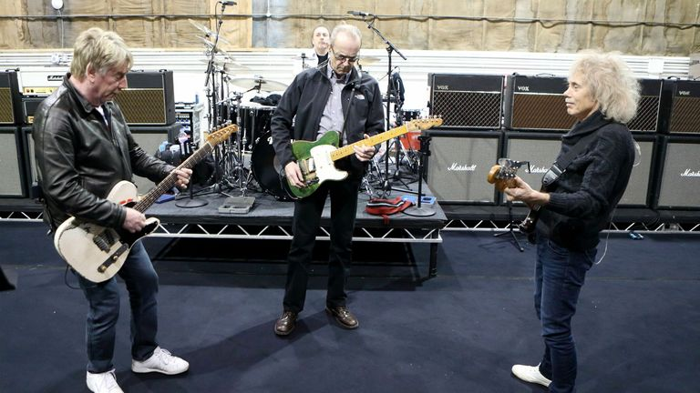 Status Quo practice at Sheperton Studios in Surrey ahead of their comeback tour...PRESS ASSOCIATION Photo. Picture date: Wednesday February 27, 2013. See PA story SHOWBIZ Quo . Photo credit should read: Steve Parsons/PA Wire