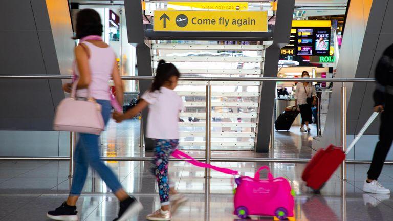 London's  Heathrow Airport passengers  Thursday July 29, 2021.