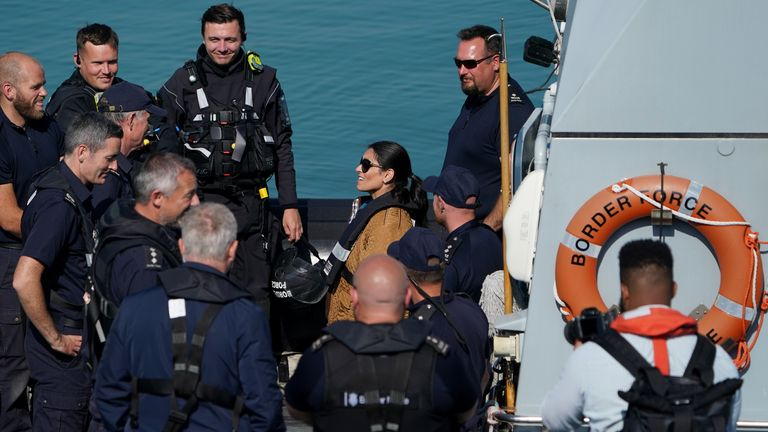 Home Secretary Priti Patel during a visit to the Border Force facility in Dover, Kent. Picture date: Thursday September 16, 2021.