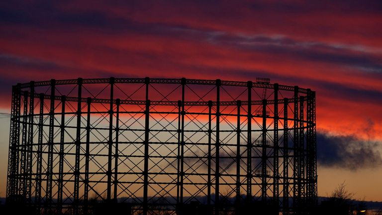 FILE PHOTO: A gas storage facility is seen at sunset in Manchester