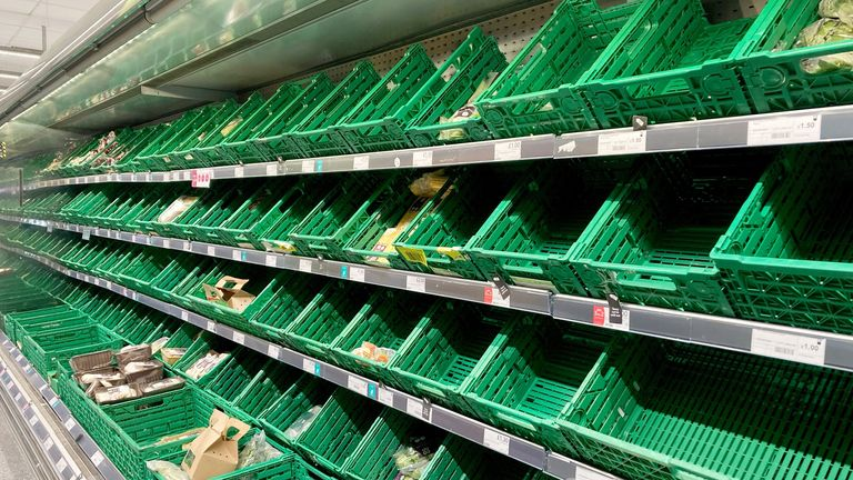 Empty shelves at a Co-op supermarket in Battersea, south London. Picture date: Monday September 13, 2021.