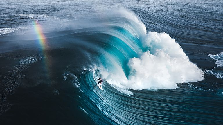 This shot captures surfer Jack Robinson riding the famous break known as 'The Right', some of the heaviest waves in the world, in Denmark, West Australia. It was nominated in the Community Choice Award. Pic: Philip de Glanville/Ocean Photography Awards