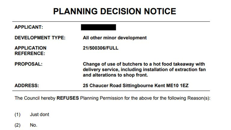 Five dummy notices were published on the council's website