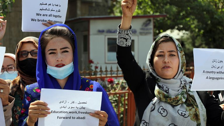 Afghan women gather during a protest march for their rights under the Taliban rule in the city of Kabul, Afghanistan, Friday, Sept. 3, 2021.  PIC:  AP