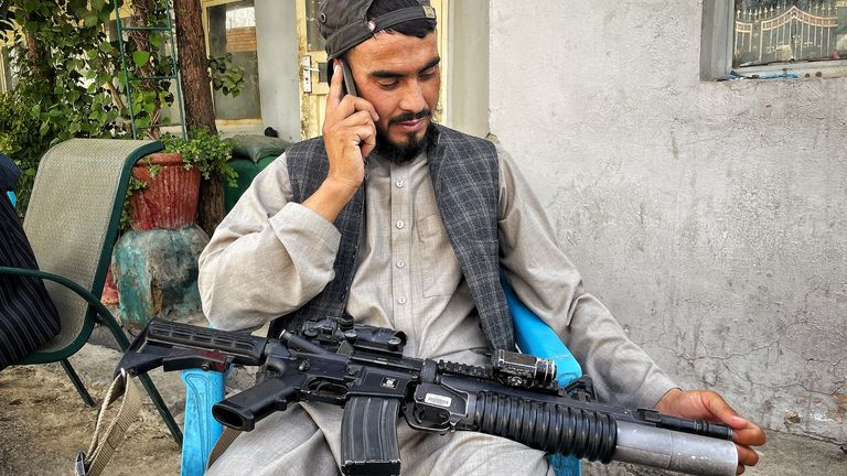 A Taliban fighter with an American-style weapon