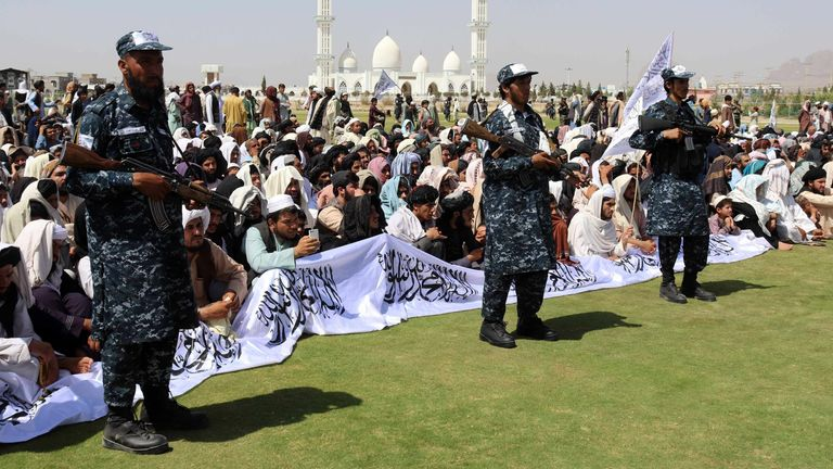 Taliban forces rally to celebrate the withdrawal of US forces in Kandahar, Afghanistan, 01 September 2021 Pic: EPA-EFE/Shutterstock