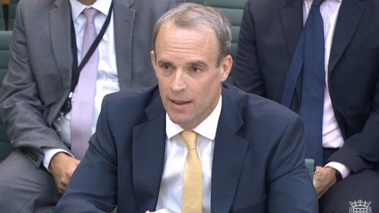 Foreign Secratary Dominic Raab giving evidence to the Commons Foreign Affairs Committee in London, about the Government's handling of the Afghanistan crisis