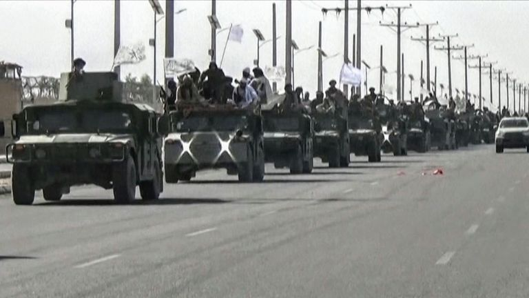 The Taliban showcase some of the military hardware they captured during their takeover of Afghanistan.