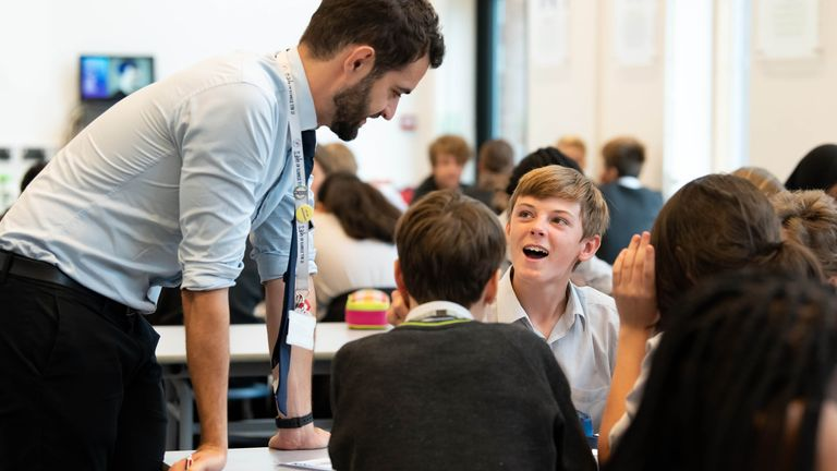 Students and faculty at the Archer Academy in East Finchley participate in an educational session led by the National Citizen Service (NCS), which has been designed to encourage and support youth social activism outside the classroom, London.