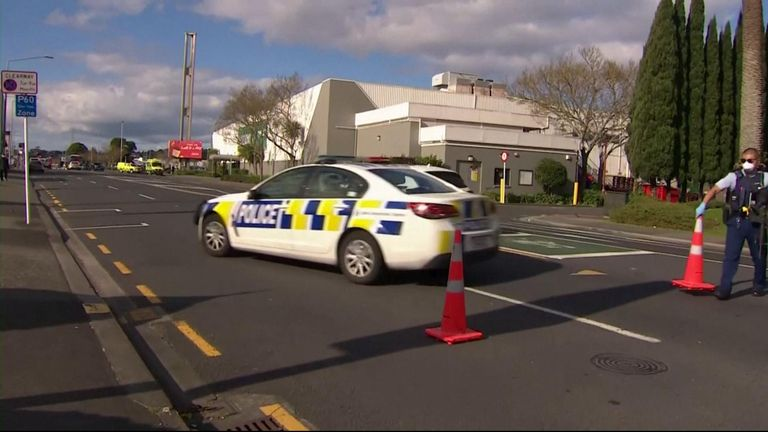 New Zealand, Auckland attack.- Police at the scene