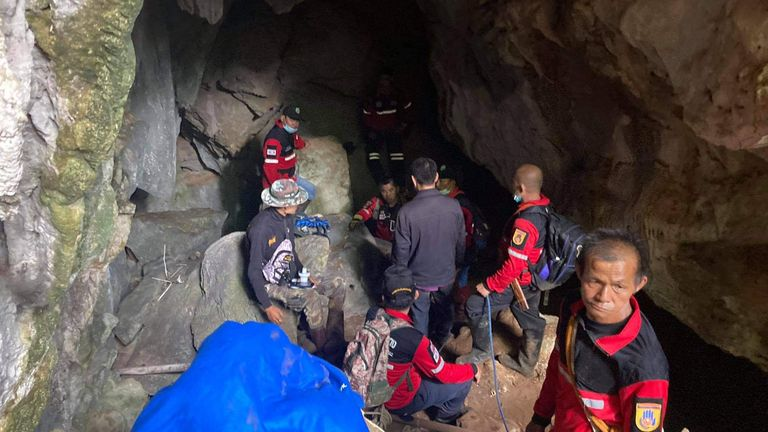 Search and rescue teams investigated a cave to try and find missing toddler, Gina. Pic:Red Hawk Rescue Team, Maena Municipality