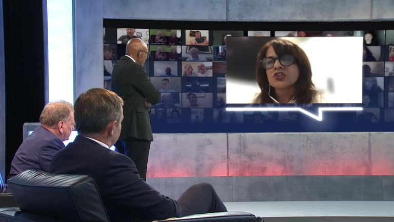 Keyworker on screen talking to George Eustice