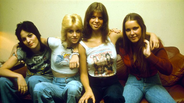 Joan Jett, Cherie Currie, Jackie Fox and Lita Ford of The Runaways, pictured in 1976. Pic: Kipa / Shutterstock