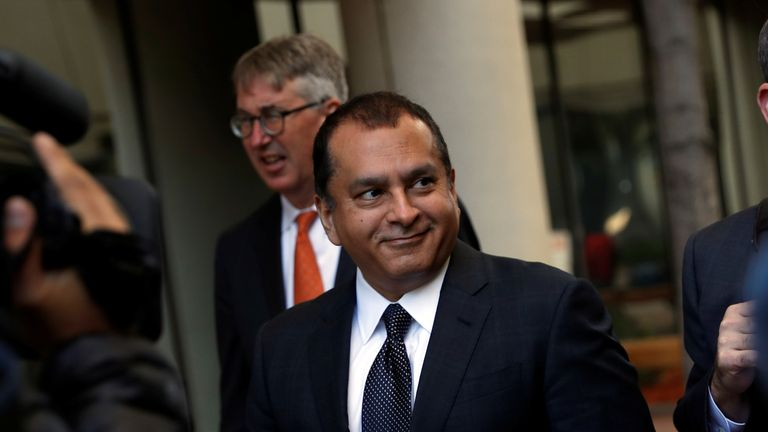 """Former Theranos President and COO Ramesh """"Sunny"""" Balwani smiles after a hearing at a federal court in San Jose. Pic: Reuters"""