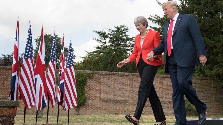 Mrs May hosted President Trump at the house