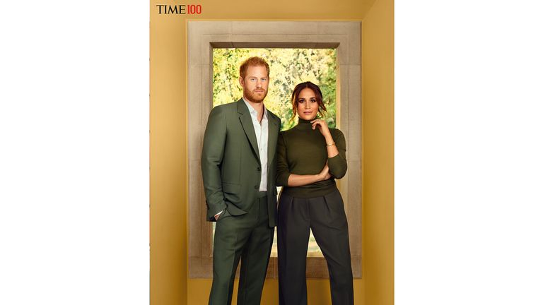 TIMES 100 - Meghan and Harry MUST ADHERE to.ONE TIME USE ONLy MUST CREDT: Photograph by Pari Dukovic for TIME. Please include credit to TIME / TIME100 in your coverage, along with mandatory photographer credit Do not alter or crop the images in any way TIME LOGOI must remain into the corner of the image The TIME100 is an annual list of the 100 most influential people in the world, and it features pairings of the influential people and guest contributors that TIME selects to write about them.