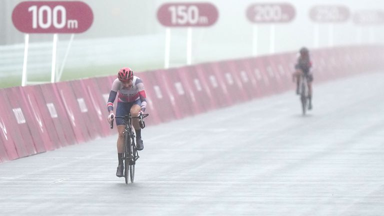 The competitors faced a heavy rain and mist as they raced