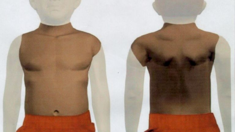 Police handout picture. Police investigating the death of a boy whose torso was found in the Thames - sparking fears he was the victim of a ritual killing - released a picture of the body. * The graphic of the five-year-old's severed torso was prepared by police computing experts in a bid to get more information about the boy, who has not been identified. 19/4/02: Former South african President Nelson Mandela was making an unprecedented worldwide appeal in an effort to identify the young boy. Th