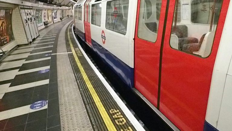 The gap between a tube train and the platform where the man fell