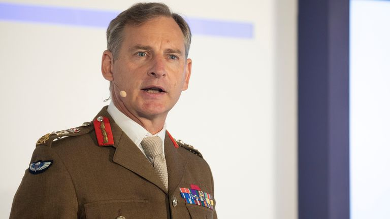 Images show Chief of the General Staff General Sir Mark Carleton-Smith delivering his keynote speech at DSEI 2021 PIC: UK MOD © Crown copyright 2021: