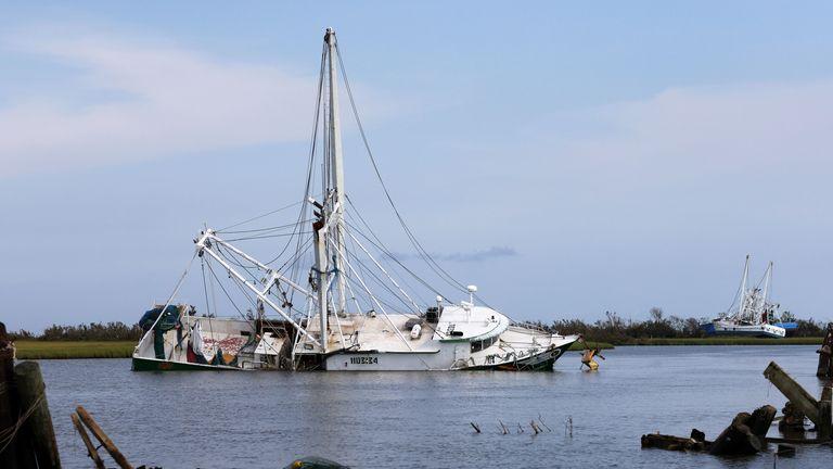 Boats damaged by hurricane Ida are seen in Leeville, Louisiana, U.S.,