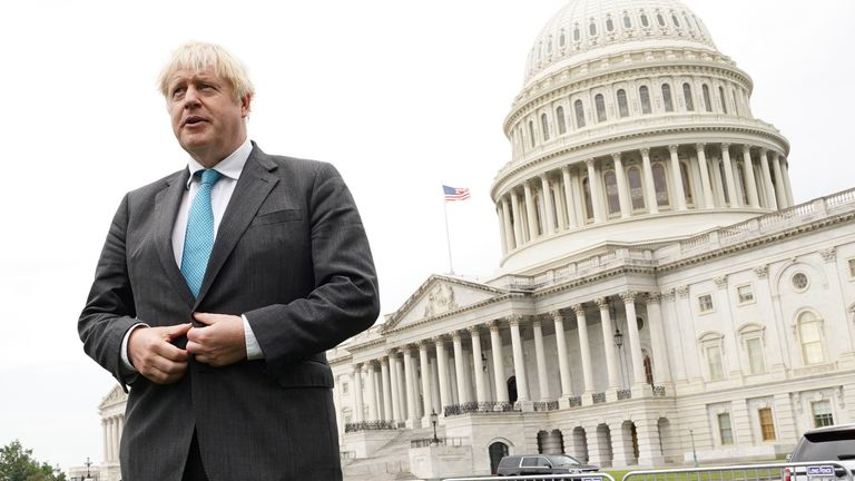 Prime Minister Boris Johnson outside the Capitol Building, Washington DC doing media interviews, during his visit to the United States.