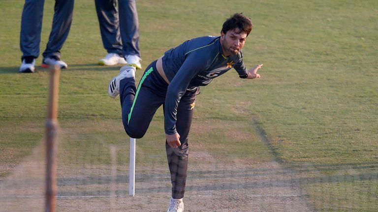 Pakistan's Usman Qadir bowls during a practice session in the Pindi Cricket Stadium on Thursday. Pic: AP