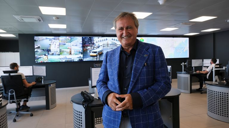 Mayor of Venice, Luigi Brugnaro, poses for a picture inside the police control room used to check the numbers of tourists entering the city, in Venice, Italy, September 5, 2021. Picture taken September 5, 2021. REUTERS/Manuel Silvestri