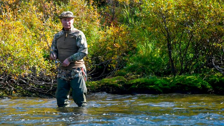 Mr Putin was joined on the fishing trip by Russian Defense Minister Sergei Shoigu Pic: AP