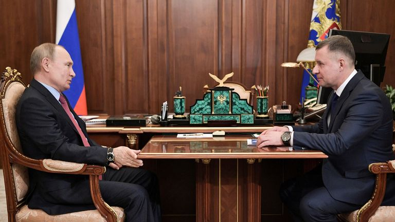 President Vladimir Putin meets with Yevgeny Zinichev in Moscow in December 2019