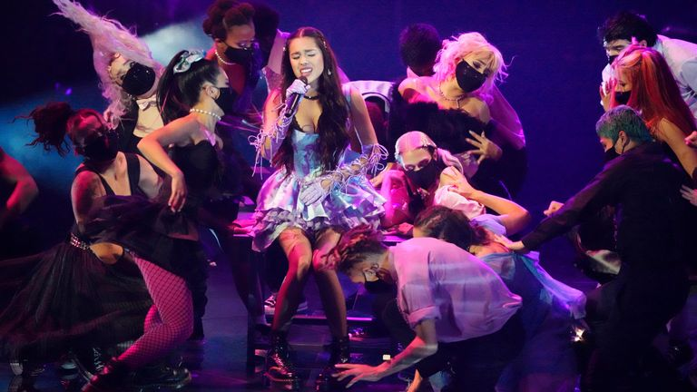 Olivia Rodrigo was one of the show's big winners. Pic: Charles Sykes/Invision/AP