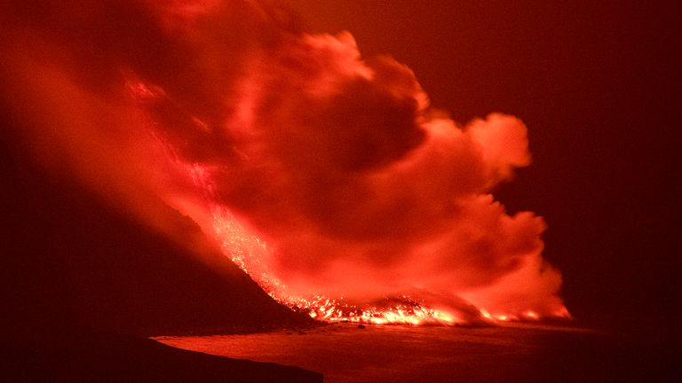 Pic: AP Lava from a volcano reaches the sea on the Canary island of La Palma, Spain in the early hours of Wednesday Sept. 29, 2021. Lava from the new volcano on the Canary Island of La Palma reached the Atlantic ocean last night, at the area known as Los Guirres beach, also known as Playa Nueva (New Beach). (AP Photo/Saul Santos)