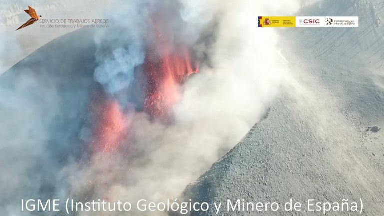 A drone reconnaissance flight captured spectacular up-close images of the erupting Cumbre Vieja volcano on the Spanish island of La Palma on Saturday, September 25.