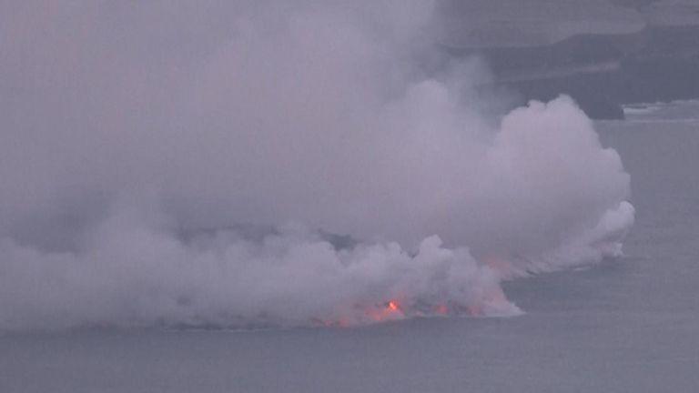 Lava from the La Palma volcano reaches the ocean