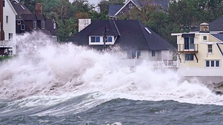 Waves slam along the shore near high tide as the remnants of Hurricane Ida leave coastal Massachusetts, PIC:AP
