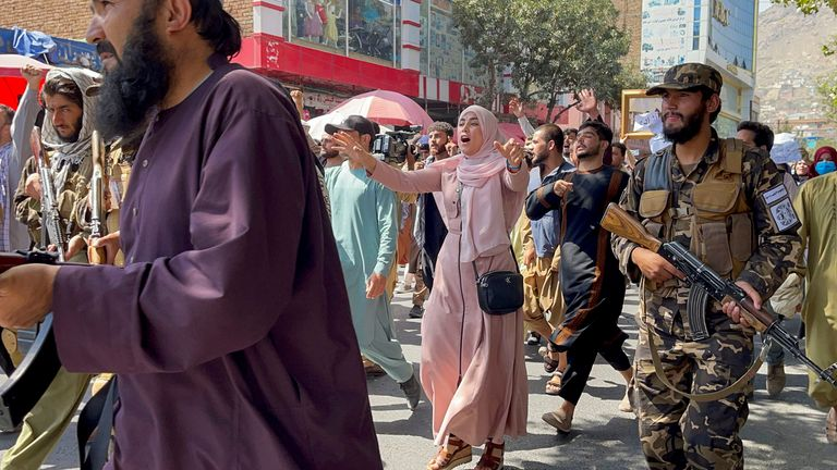 Afghan demonstrators shout slogans during an anti-Pakistan protest, near the Pakistan embassy in Kabul, Afghanistan