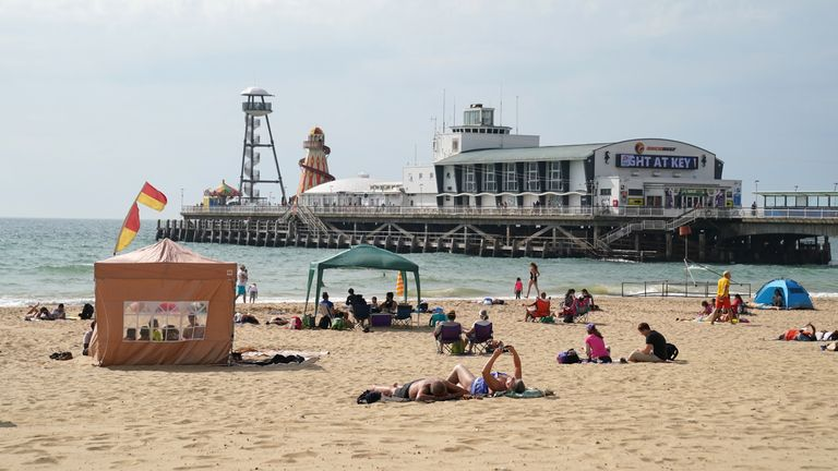 WEATHER - People enjoy the warm weather on Bournemouth Beach in Dorset. Picture date: Wednesday September 8, 2021.