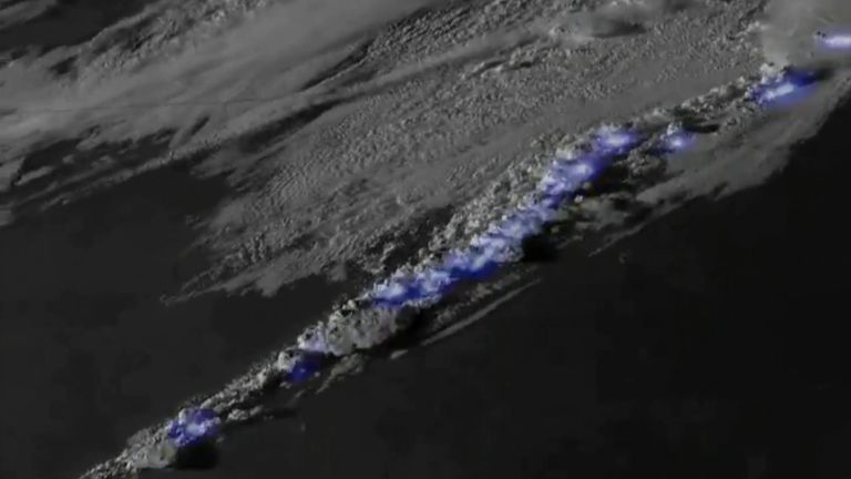 Lightning can be seen flashing across the US and Canada in satellite footage released by the National Oceanic and Atmospheric Administration (NOAA).