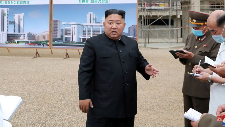 july 2020 North Korean leader Kim Jong Un gives field guidance to the Pyongyang General Hospital under construction, in this undated photo released on July 19, 2020 by North Korean Central News Agency (KCNA) in Pyongyang. KCNA via REUTERS    ATTENTION EDITORS - THIS IMAGE WAS PROVIDED BY A THIRD PARTY. REUTERS IS UNABLE TO INDEPENDENTLY VERIFY THIS IMAGE. NO THIRD PARTY SALES. SOUTH KOREA OUT. NO COMMERCIAL OR EDITORIAL SALES IN SOUTH KOREA.