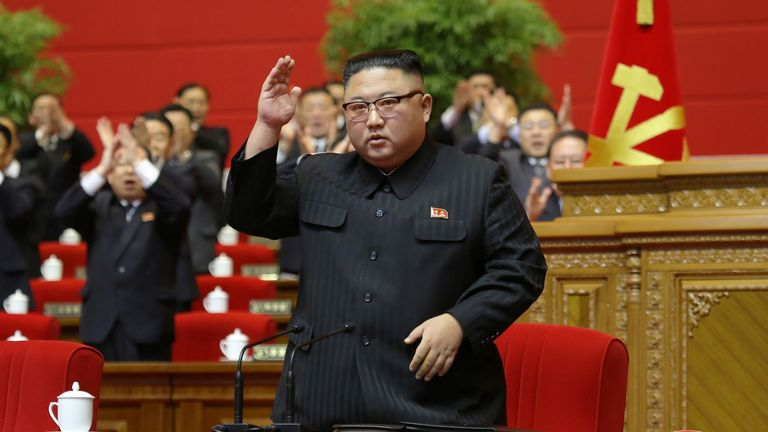 Jan 2021 North Korean leader Kim Jong Un receives applause during the 8th Congress of the Workers' Party in Pyongyang, North Korea, in this photo supplied by North Korea's Central News Agency (KCNA) on January 13, 2021.?KCNA/via REUTERS  ATTENTION EDITORS - THIS IMAGE WAS PROVIDED BY A THIRD PARTY. REUTERS IS UNABLE TO INDEPENDENTLY VERIFY THIS IMAGE. NO THIRD PARTY SALES. SOUTH KOREA OUT.