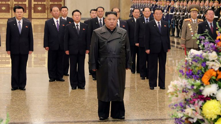 Feb2020 North Korean leader Kim Jong Un visits his father and former leader Kim Jong Il's mausoleum to mark the anniversary of the late leader's birth, in this undated photo released by North Korea's Central News Agency (KCNA) on February 15, 2020. KCNA/via REUTERS ATTENTION EDITORS - THIS IMAGE WAS PROVIDED BY A THIRD PARTY. REUTERS IS UNABLE TO INDEPENDENTLY VERIFY THIS IMAGE. NO THIRD PARTY SALES. SOUTH KOREA OUT.     TPX IMAGES OF THE DAY