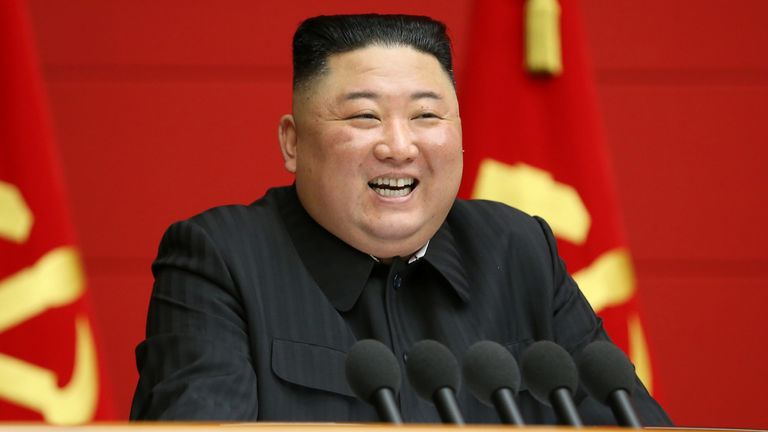 March 2021 North Korea's leader Kim Jong Un addresses the first short course for chief secretaries of the city and county Party committees in Pyongyang, North Korea, in this undated photo released March 7, 2021 by North Korea's Korean Central News Agency (KCNA).     KCNA via REUTERS