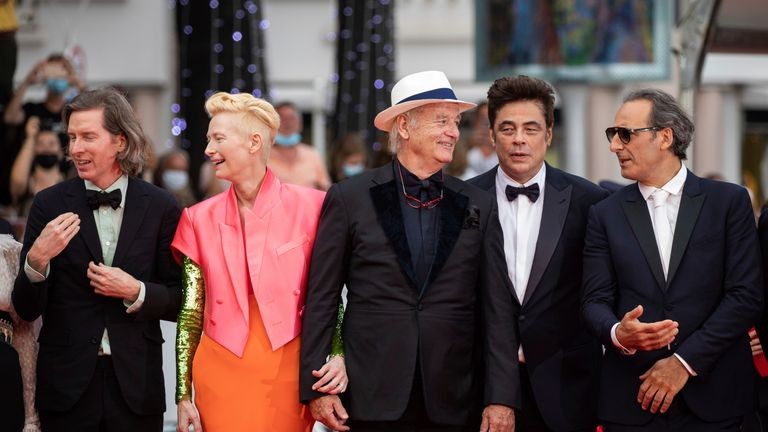 Wes Anderson, Tilda Swinton, Bill Murray, Benicio and Alexandre Desplat pose for photographers upon arrival at the premiere of the film 'The French Dispatch' at the 74th international film festival, Cannes, southern France, Monday, July 12, 2021. (Photo by Vianney Le Caer/Invision/AP)