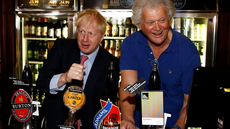 File Photo - Conservative Party leadership candidate Boris Johnson during a visit to Wetherspoons Metropolitan Bar in London with Tim Martin, Chairman of JD Wetherspoon.