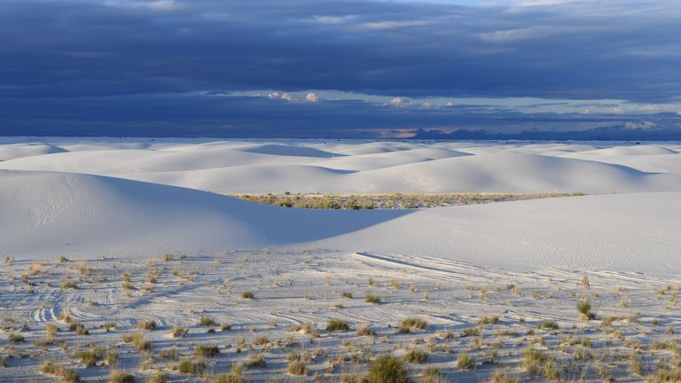 White sand dunes are seen in White Sands National Monument park, known for its rare white sand dunes made of gypsum minerals, near Alamogordo, New Mexico, September 27, 2017. REUTERS/Darren Ornitz